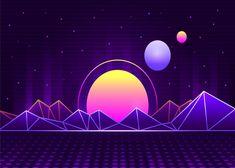 Estilo Retro, Vaporwave Wallpaper, Landscape Background, Neon Wallpaper, Minimalist Wallpaper, Retro Waves, Vector Photo, Backgrounds Free, Retro Futurism