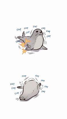 My Giant Nerd Boyfriend Animal Sketches, Animal Drawings, Cute Drawings, Cute Little Animals, Cute Funny Animals, Nerd Boyfriend, Character Art, Character Design, Cute Seals