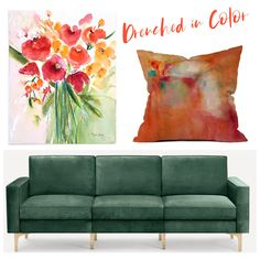 "Drenched in rich color! Fine art print of my original watercolor painting paired with our pillows in orange abstract design (Available indoor and outdoor option with 4 different sizes up to 26""x26""). Also featured: Burrow green velvet sofa Follow me in the @LIKEtoKNOW.it shopping app to shop this post and get my exclusive app-only content! #liketkit #LTKSeasonal #LTKhome #StayHomeWithLTK @liketoknow.it"