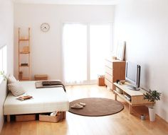 Best Ideas For Apartment Interior Small Spaces Japan - Modern Apartment Interior, Apartment Living, Room Interior, Studio Apartment, Japan Apartment, Minimal Apartment, Japan Interior, Apartment Layout, Interior Livingroom