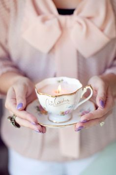 Teacup Candles--wax, teacup, saucer (wick) *use clothespin to keep wick standing straight