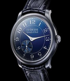 F.P. Journe Chronometer Blue.  The watch is made from tantalum, which is a rare metal with a blue grayish tint used often in the aerospace and medical fields as it cannot corrode.