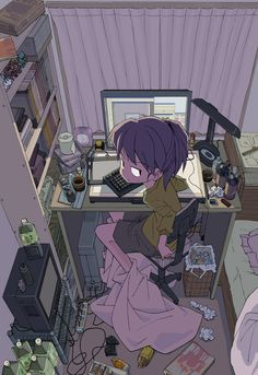 ✮ ANIME ART ✮ anime. . .otaku. . .nerd. . .computer. . .messy room. . .angry face. . .kawaii