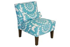 Bergman Armless Chair, Turquoise/White on OneKingsLane.com