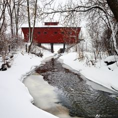 Snow Covered Wood Bridge By Matt Anderson A short distance out of the small city of Milton, WI is a neat old wood covered bridge. It provides a little used road over a small meandering stream. On this Winter day we received over a foot of snow. Winter Szenen, I Love Winter, Winter Magic, Winter White, Winter Holidays, I Love Snow, Snow Scenes, Snow And Ice, Winter Beauty