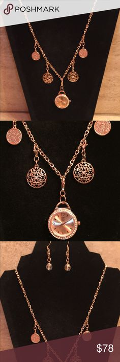 """NYC watch necklace & detachable charms & earrings PzM unique design of a new rose gold NYC watch with 4 detachable charms on a 30"""" necklace & pair of earrings.  Charms, watch, & earrings are interchangeable and all included with necklace. Charmes can also be used on your own bracelet.   Be creative and design your own necklace and earrings. New York & Company Jewelry Necklaces"""