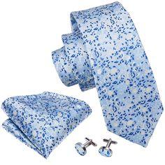 Blue Floral Silk Tie Hanky Cufflinks Set – ties2you