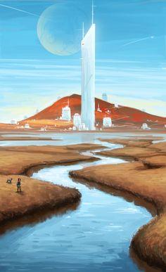 ArtStation - Walking the dog, Beau Lamb Fantasy Places, Sci Fi Fantasy, Environment Concept Art, Environment Design, No Man's Sky, Science Fiction Art, Futuristic Architecture, Future City, Fantasy Landscape