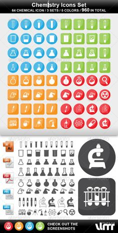 Chemistry Icons  #GraphicRiver         Chemistry icon set, that also can be used in other scientific spheres…   64 CHEMICAL ICONS / 3 SETS / 5 COLORS / 960 ICONS IN TOTAL   100% Vector / so its easy to scale, change color…   5 folders .AI / .EPS / .PDF / .PNG / .JPEG Each folder contains 5 files by the colors: Gray / Blue / Green / Orange / Red   .AI / .EPS / are in CMYK .PNG / .JPEG / are in RGB     Created: 2January13 GraphicsFilesIncluded: TransparentPNG #JPGImage #VectorEPS…