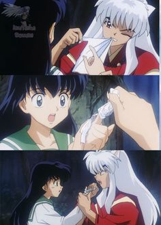 Only Inuyasha fangirls can squee at someone bandaging a finger. >>> I believe Inuyasha is one of the reasons why my fangirling is so extreme today Inuyasha Fan Art, Kagome And Inuyasha, Inuyasha Funny, Miroku, Kagome Higurashi, I Love Anime, Awesome Anime, Otaku, Cat Noir