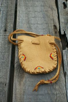 Beaded medicine bag Buckskin leather medicine pouch by thunderrose