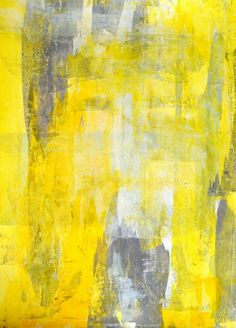 "Grey and Yellow Abstract Art Painting - 11"" x 14"""