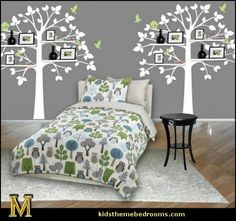 owl theme bedroom decorating ideas - tree wall decals
