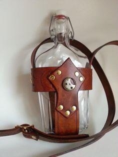 Steampunk Vintage Glass Flask and Leather Holder with Shoulder Strap.:
