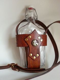 Steampunk Vintage Glass Flask and Leather Holder with Shoulder Strap.: