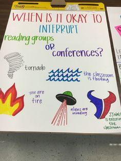 Reading conferences and reading groups anchor chart. Love the one about JJ WATT entering the classroom!