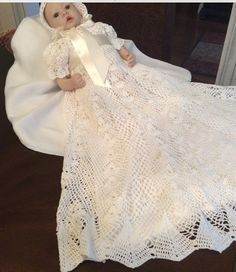 5 crochet patterns of christening gowns at a por PatternsbyHalina