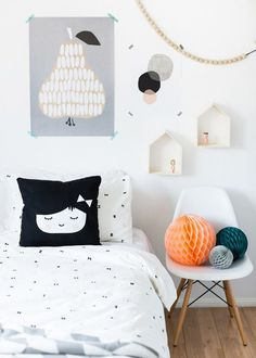 Kids room in my favourite colours - black, white and pops of colour