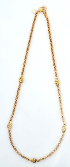 Teenager Gold Plated Chain Necklace Decorated with Little Elephants Shiny Polished Finish Handmade by Jennifer Love