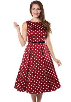 Wine Red Polka Dot Hepburn, circle dress by Lady Vintage…