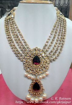 Royal diamond polki set with rodolite and double-coated pearls to make everyone go Wow Bridal Jewelry Sets, Bridal Sets, Royal Diamond, India Jewelry, Jewellery, Bollywood Jewelry, Indian Wedding Jewelry, Golden Jewelry, Necklace Designs