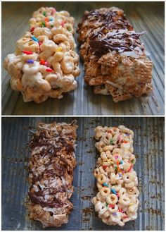 Cereal Bars - On The Go Breakfast!    Works with every kind of cereal- I've done chex with peanut butter, kashi go lean crunch, reeses puffs, apple jax, fiber one cinnamon cherrios, and fruit loops.