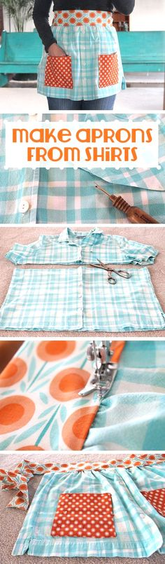DIY Sewing Projects for the Kitchen - Aprons From Shirts - Easy Sewing Tutorials. CLICK Image for full details DIY Sewing Projects for the Kitchen - Aprons From Shirts - Easy Sewing Tutorials and Patterns for Towels, na. Diy Sewing Projects, Sewing Hacks, Sewing Tutorials, Sewing Crafts, Sewing Patterns, Sewing Ideas, Sewing Tips, Apron Patterns, Sewing Basics