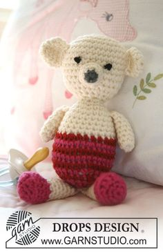 "Crochet DROPS teddy bear in ""Merino Extra Fine"""". ~ FREE pattern, cute : thanks so xox"