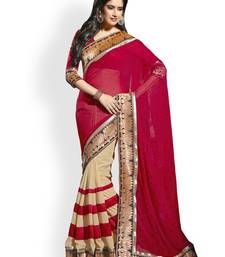 Buy Red embroidered georgette saree with blouse shimmer-saree online