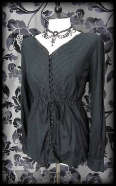 Romantic Goth Black Broderie Anglaise Trim Peasant Top 16 18 Victorian Vintage | THE WILTED ROSE GARDEN on eBay // Worldwide Shipping Available