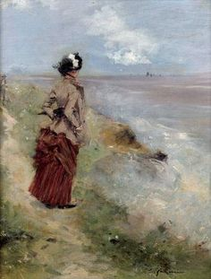 Jean-Louis Forain  |  Woman walking at the seashore, 1895