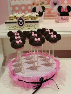 Cake pops at a Minnie Mouse baptism party! See more party planning ideas at CatchMyParty.com!