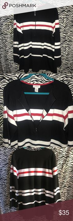 """Avenue 1/4 zip striped knit tunic. Size 18/20 1/4 zip. Good quality thick knit pullover. Tunic length. Excellent condition. 65% poly 35% cotton. Size 18/20.  Approx measurements - laying flat:  Armpit to armpit - 25"""" Length from top of shoulder down - 30"""" Avenue Tops Tunics"""