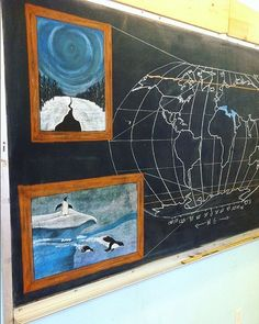 One half of a chalk drawing for a grade Biomes block I taught a few years back. (Back story: I was overwhelmed by the idea of creating a full sized drawing for each biome . this was my solution. Chalkboard Drawings, Chalk Drawings, Chalkboard Art, Waldorf Math, Sunflower Art, Biomes, Homeschool Curriculum, Chalk Art, Whimsical Art