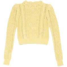 Pre-owned Isabel Marant Jumper (4.990.830 VND) ❤ liked on Polyvore featuring tops, sweaters, women clothing knitwear, yellow, beige sweater, yellow sweater, isabel marant, scallop hem top and scallop trim top