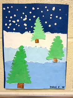 This 'winter landscape' by 2nd grade is great because it covers a lot of art lessons in one: tints, foreground, middleground, and background, and we even talked about atmospheric perspective! Blog entry from Dec 23, 2012.
