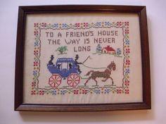 Vintage Framed Sampler Cross Stitch Sampler by OffRoadPickers