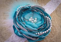 SALE! Frozen inspired aqua teal and grey satin singed flower headband ~ Elsa Ice Princess headband on Etsy, $9.99
