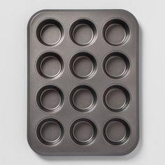 Carbon Steel Non-Stick Muffin Tin Dark Gray - Made By Design™ : Target Butternut Squash Muffins, Double Chocolate Zucchini Muffins, Homemade Blueberry Muffins, Cookie Bowls, Gluten Free Cornbread, Cornbread Muffins, Baked Oatmeal Cups, Muffin Pans, Baking Cups