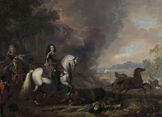 Jan van Huchtenburg | Henry Casimir II, Prince of Nassau-Dietz, in a Battle, Jan van Huchtenburg, 1692 | Ruiterportret van Hendrik Casimir II, vorst van Nassau-Dietz, als aanvoerder bij een veldslag. Achter hem een officier met getrokken zwaard te paard. Links op de voorgrond een negerjongen met de helm van de vorst. Op de grond gedode en gewonde soldaten, trommel en vaandel. Rechts rookwolken en de veldslag.