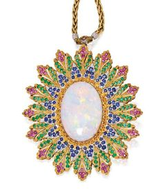 18 KARAT TWO-COLOR GOLD, OPAL, RUBY, SAPPHIRE AND EMERALD PENDANT-NECKLACE, BUCCELLATI
