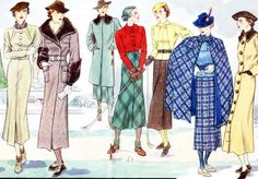 French Women Fashion 30s golfing