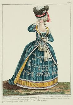 Lévite outfit trimmed with tassels, epaulettes, and cords: the matching petticoat bordered with a band of a different color, a blonde lace on the edges of the Lévite and two sides of the petticoat trimming.  The hat is of white gauze, and trimmed en pouf with black gauze, belted with black lace and a colored ribbon. (1780)