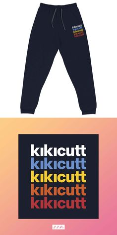 the RAINBOW KIKICUTT design is embroidered on cotton, polyester pre-shrunk navy blue fleece joggers Fleece Joggers, Sweatpants, Navy Blue, Rainbow, Unisex, Hats, Fitness, Cotton, How To Wear