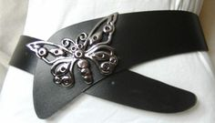 Damengürtel schwarz mit silberfarbener Schmetterling-Schließe