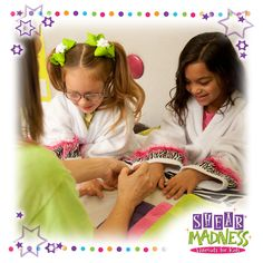Check out our La De Da Spa for kids! Your darling diva will love being treated like a queen with a mini manicure, pedicure or a Dress Up Spa Party! #spa #party #manicure #pedicure #kids #princess #girlsparty #diva http://shearmadnesskids.com/usa-franchise-locations-contact-info/