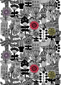 BUY – Marimekko –Lintukoto cotton fabric – design Maija Louekari – Maija Louekari's Lintukoto printon heavyweight cotton fabric overflows with wild flora and charming structures. Textile Patterns, Textile Design, Fabric Design, Print Patterns, Curtain Patterns, Surface Design, Wal Art, Marimekko Fabric, Scandinavia Design