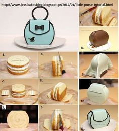 Step-by-Step in pictures for this amazing purse cake! Cake Decorating Techniques, Cake Decorating Tutorials, Fondant Cakes, Cupcake Cakes, Cupcake Piping, 3d Cakes, Super Torte, Shoe Cakes, Purse Cakes