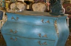 Antique Italian Bombay Chest -Hand painted in 'Agean'