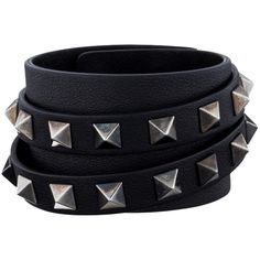 Pre-owned Valentino Rockstud Leather Cuff ($226) ❤ liked on Polyvore featuring jewelry, bracelets, accessories, black, pre owned jewelry, snap button jewelry, cuff jewelry, leather bangle and cuff bangle